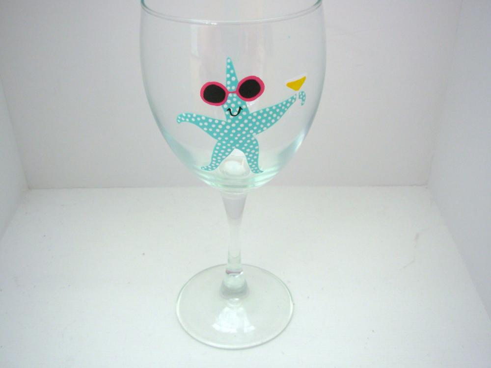 Handpainted Starfish Wine Glass