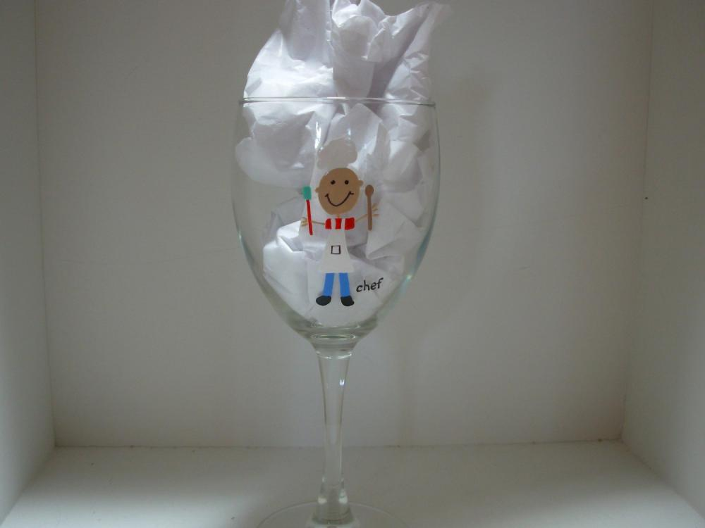 Chef Wine Glass Handpainted