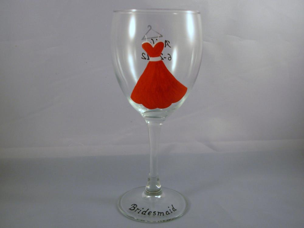 Handpainted Bridesmaid Wine Glass Personalized Dress