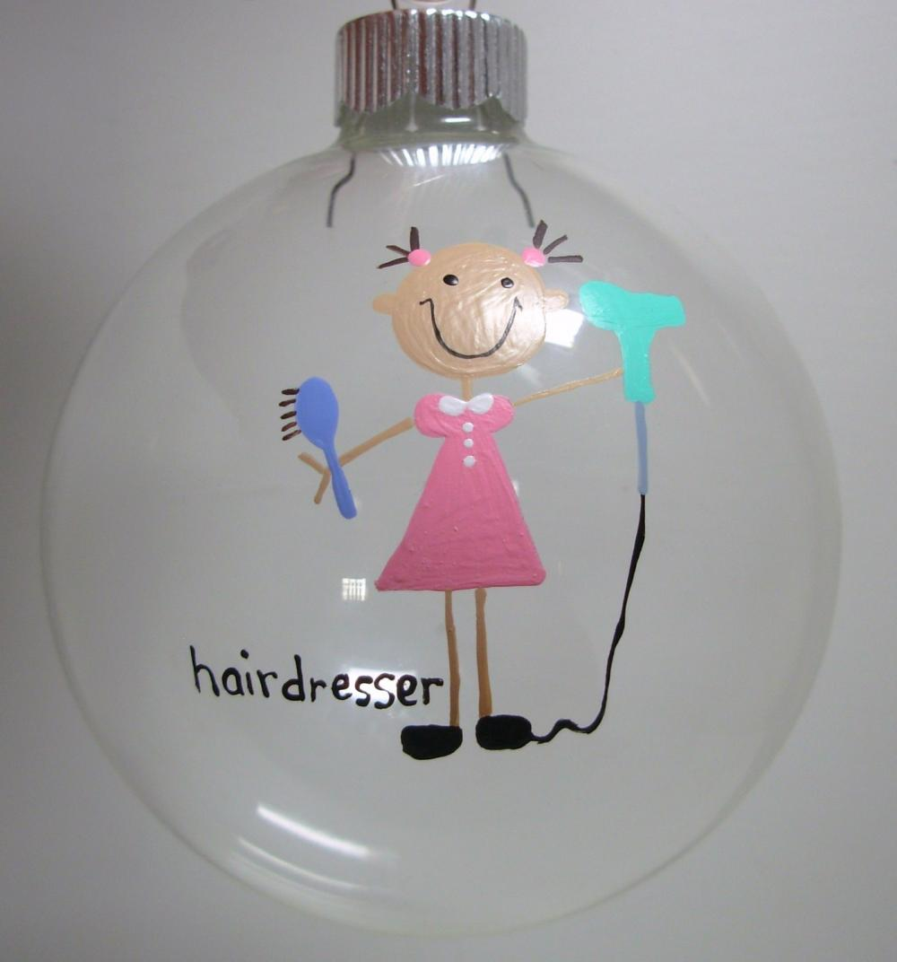 Hairdresser Christmas Ornament Handpainted Personalized