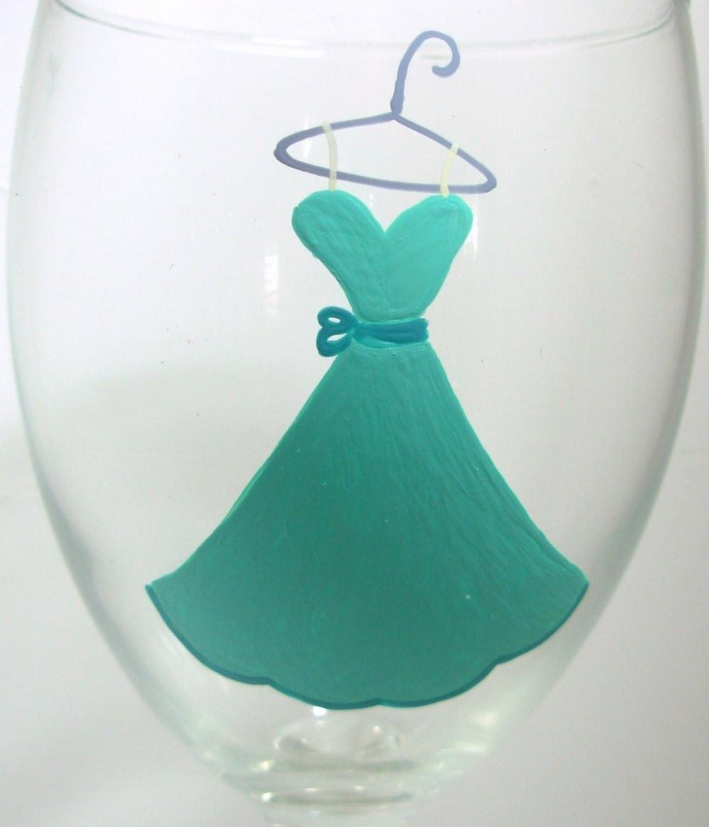 Bridesmaid Wine Glass Handpainted
