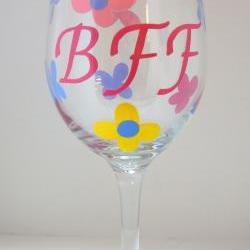 BFF Large Wine Glass Handpainted Personalized