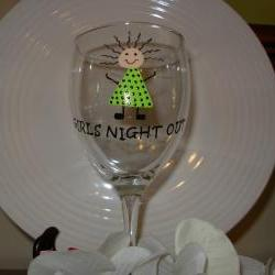 Bridesmaid Wine Glass Handpainted Girls Night Out