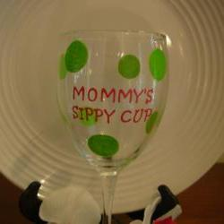 Mommy's Sippy Cup Wine Glass Handpainted