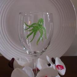 Octopus Wine Glass Handpainted Personalized