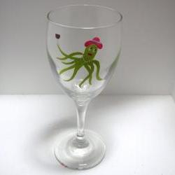 Octopus Diva Wine Glass Personalized Handpainted