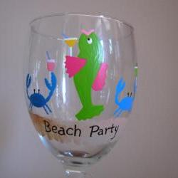 Beach Party Handpainted Wine Glass