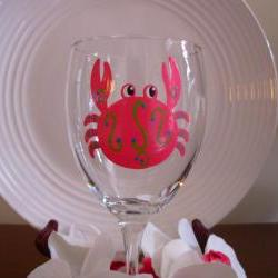 Crab Wine Glass Handpainted Personalized