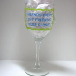 Handpainted Friend Wine Glass Handpainted Personalized