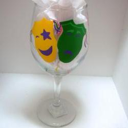 Comedy/Tragedy Wine Glass Handpainted Personalized Oversized