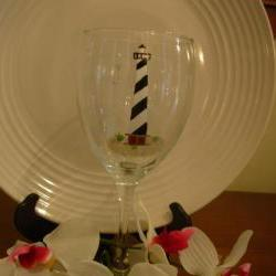 Cape Hatteras Wine Glass Handpainted Personalized