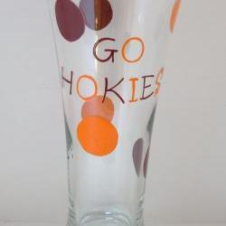 Va Tech Pilsner Glass Handpainted Hokie Personalized