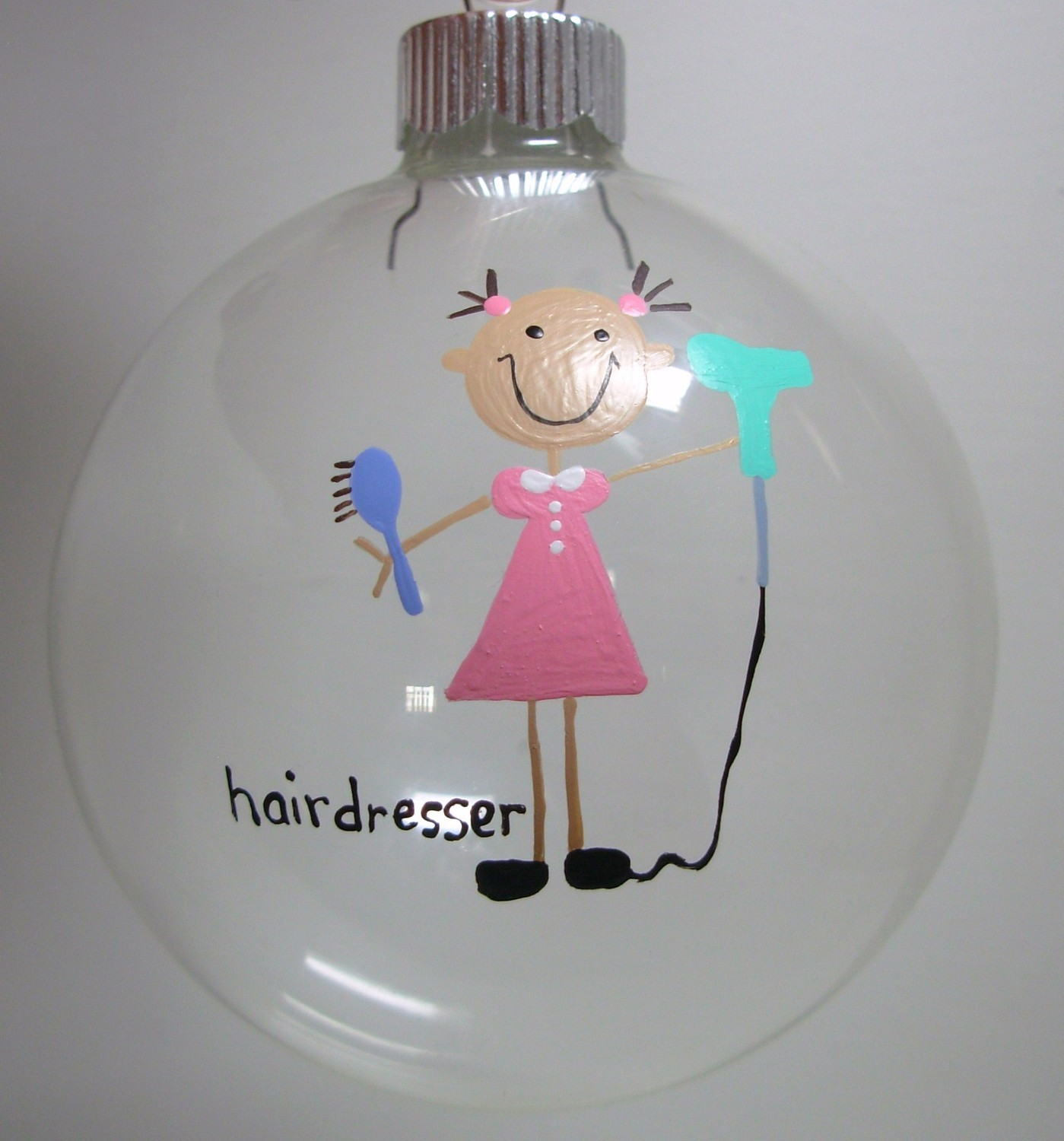 Hair stylist christmas ornaments - Hairdresser Christmas Ornament Handpainted Personalized